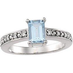 Great Buy 14K White Gold Genuine Aquamarine & Diamond Ring