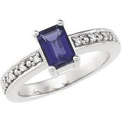 14K White Gold Genuine Iolite & Diamond Ring GREAT DEAL!!