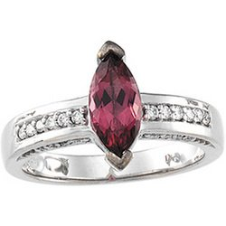 14K White Gold Genuine Pink Tourmaline & Diamond Ring GREAT DEAL!!!!!