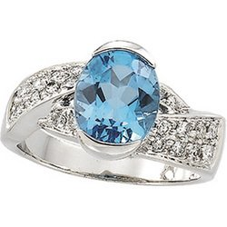 BUY HERE DEALS ARE RIGHT HERE 14K White Gold Genuine Swiss Blue Topaz And Diamond Ring