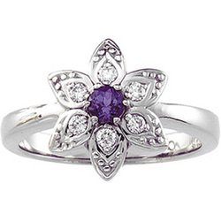 Great Prices!!!14K White Gold Chatham Alexandrite & Diamond Ring