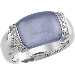 NEW GREAT DEALS!!14K White Gold Genuine Chalcedony & Diamond Ring