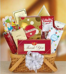 Joyous Thanks! Aaron Bell savory popcorn, toffee peanuts, Jelly Bellys, Hathaway's GIFT BASKET