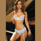 2 Piece BRA and PANTIES with ATTACHED GARTERS  SIZES: S-M-L  #DL1245  Women's Lingerie
