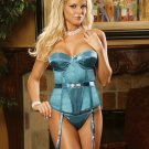 Satin BUSTIER with G-STRING and Detachable GARTERS SIZES: 32-34-36-38 #DL1131 Women's Lingerie