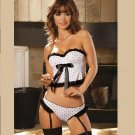 Polka Dot BUSTIER and matching PANTIES with attached GARTERS SIZES: S-M-L #DL1099 Women'sLingerie