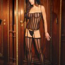 CAMISOLE with G-STRING and Stockings #DLG2046 Black Striped