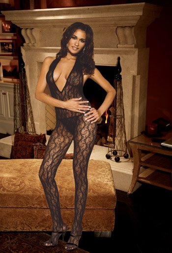 Deep V Lace BODYSTOCKING with Open Crotch #DLG2102