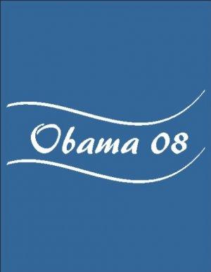 Barack Obama 08, T-shirt, Black with White Graphics
