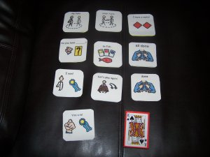 Go fish game adapted for autism pecs speech delay