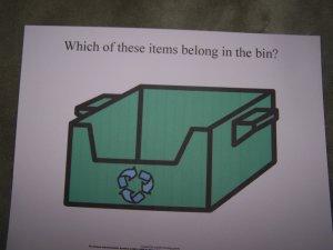 recycle bin board autism pecs