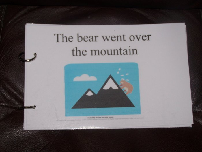 The bear went over the mountain autism PECS educational