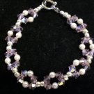 Stretch Weave Bracelet- Swarovski crystals in light amethyst and Swarovski pearls in white