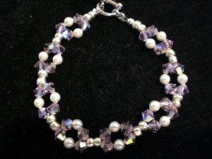 Stretch Weave Bracelet- Swarovski crystals in light amethyst and Swarovski pearls in white