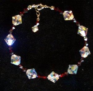 Siam satin and crystal clear AB genuine swarovski crystals- Bracelet