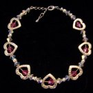 Rose and crystal clear genuine Swarovski crystals and silver heart bead frames-Bracelet