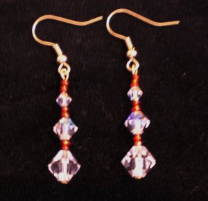 Genuine Swarovski crystals in crystal clear AB and red japanese seed beads