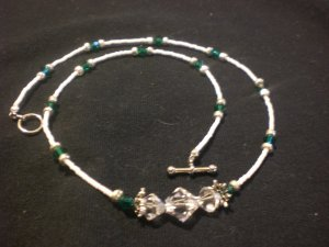 Emerald and crystal clear Swarovski crystals and white seed beads- Necklace