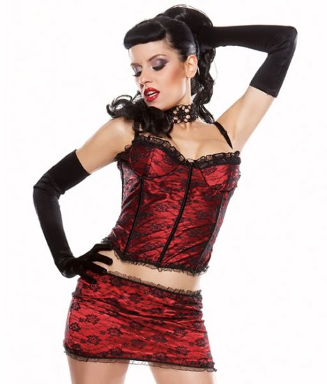 Darque Coquette -Corset  & Skirt Lace Satin Set
