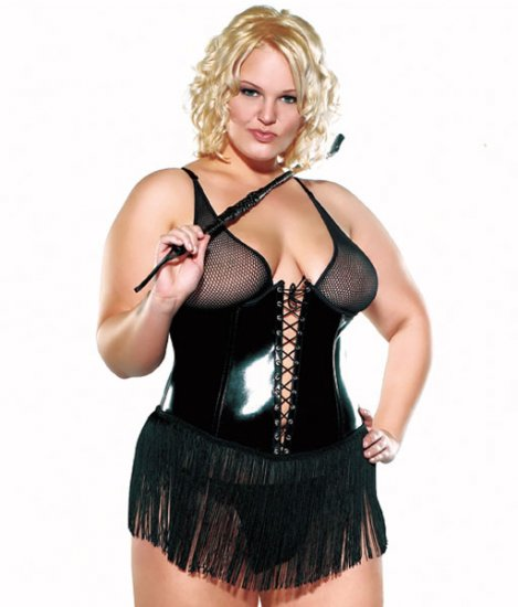 Black Stretch Wet Look Corset Plus Size