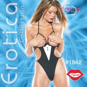 Sexy Costume Boobless Back G-String Tuxedo Teddy