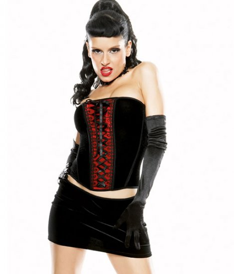 Velvet  Stretch Boned Satin Lace Up Corset Bustier w/skirt