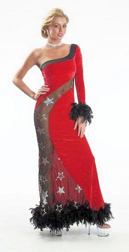 Velvet Sequin Gown  Feather Boa PLUS SIZE