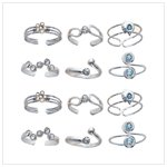 Sterling Silver Crystal Toe Rings(32442)