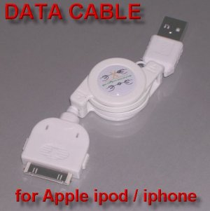 Retractable USB 2.0 Data Cable for Apple i-pod / i-phone