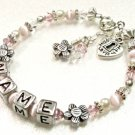 Flowers and Pearls Child Name Bracelet