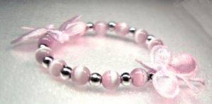 Pink Satin Butterfly Child Bracelet