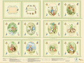 Beatrix Potter Victorian Nursery Book Panel Quilt Blocks Cotton Fabric