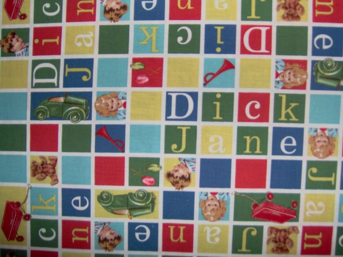Dick and Jane Primary Letter & Picture Scrabble Squares Retro Kids Cotton Fabric 3.75 yds Last piece