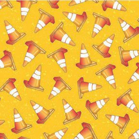 Avlyn Construction Cones on Yellow Dirt Kids Fabric 1 1/8 Yard LAST PIECE!