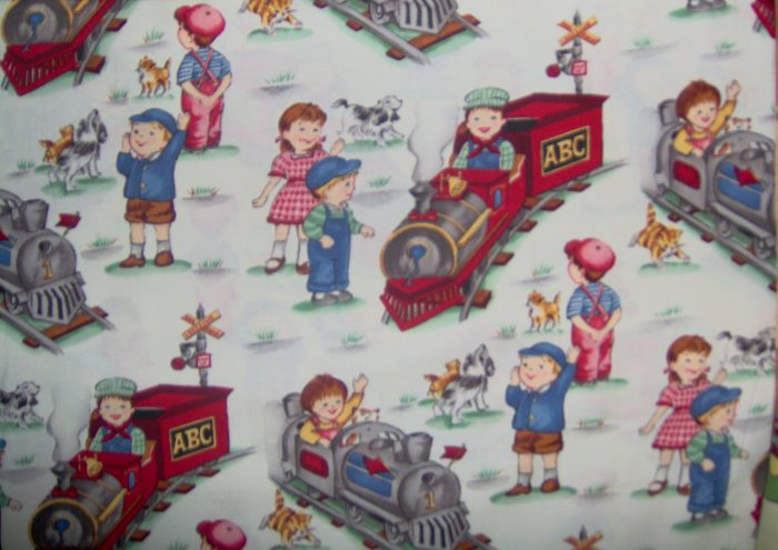 Michael Miller Retro Fun I Think I Can on Cream Kids Fabric 3.33 Yds LAST PIECE