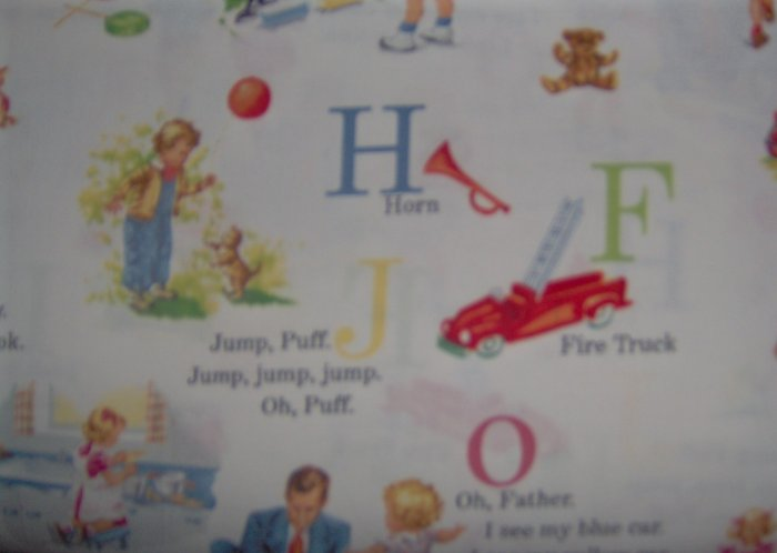 LAST PIECE! Michael Miller Dick & Jane J is for Jump on White Retro Fabric