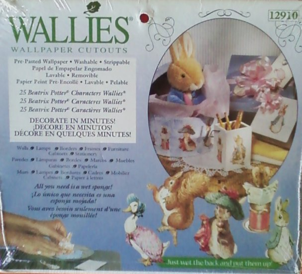 Wallies Wallpaper Cutouts 25 Peter Rabbit Beatrix Potter Characters Pre-Pasted Washable 12910
