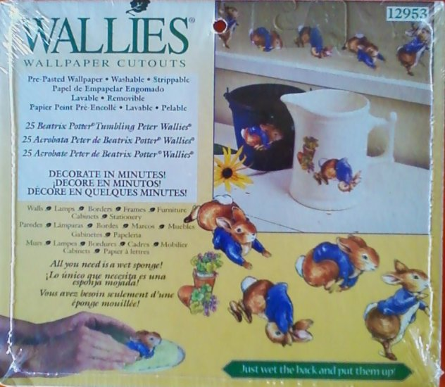 25 Beatrix Potter Tumbling Peter Rabbit Wallies Pre-Pasted Washable Wallpaper Cutouts 12953