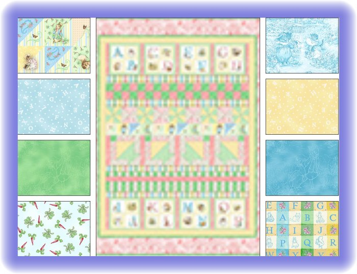Beatrix Potter Peter Rabbit Blue Alphabet Garden Fabric Quilt Kit