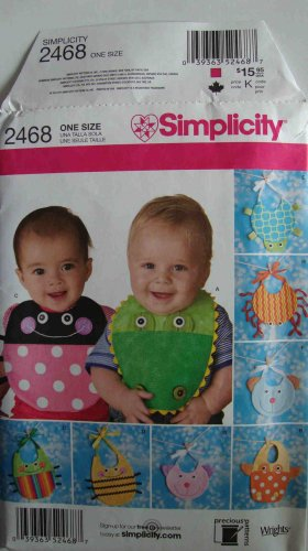 Simplicity Precious Patterns 2468 8 Animal Baby Bibs Lady Bug Turtle Bee +More