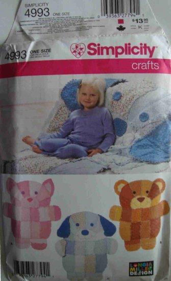 Simplicity rag animal quilt pattern 4993 bear dog cat pig for Simplicity craft pattern 4993