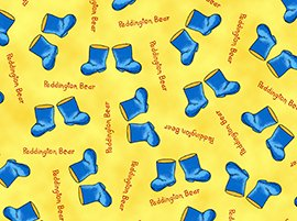 1 1/3+ Yards Paddington Bear ABC's Blue Boot Toss on Yellow Quilting Treasures Fabric Bolt End