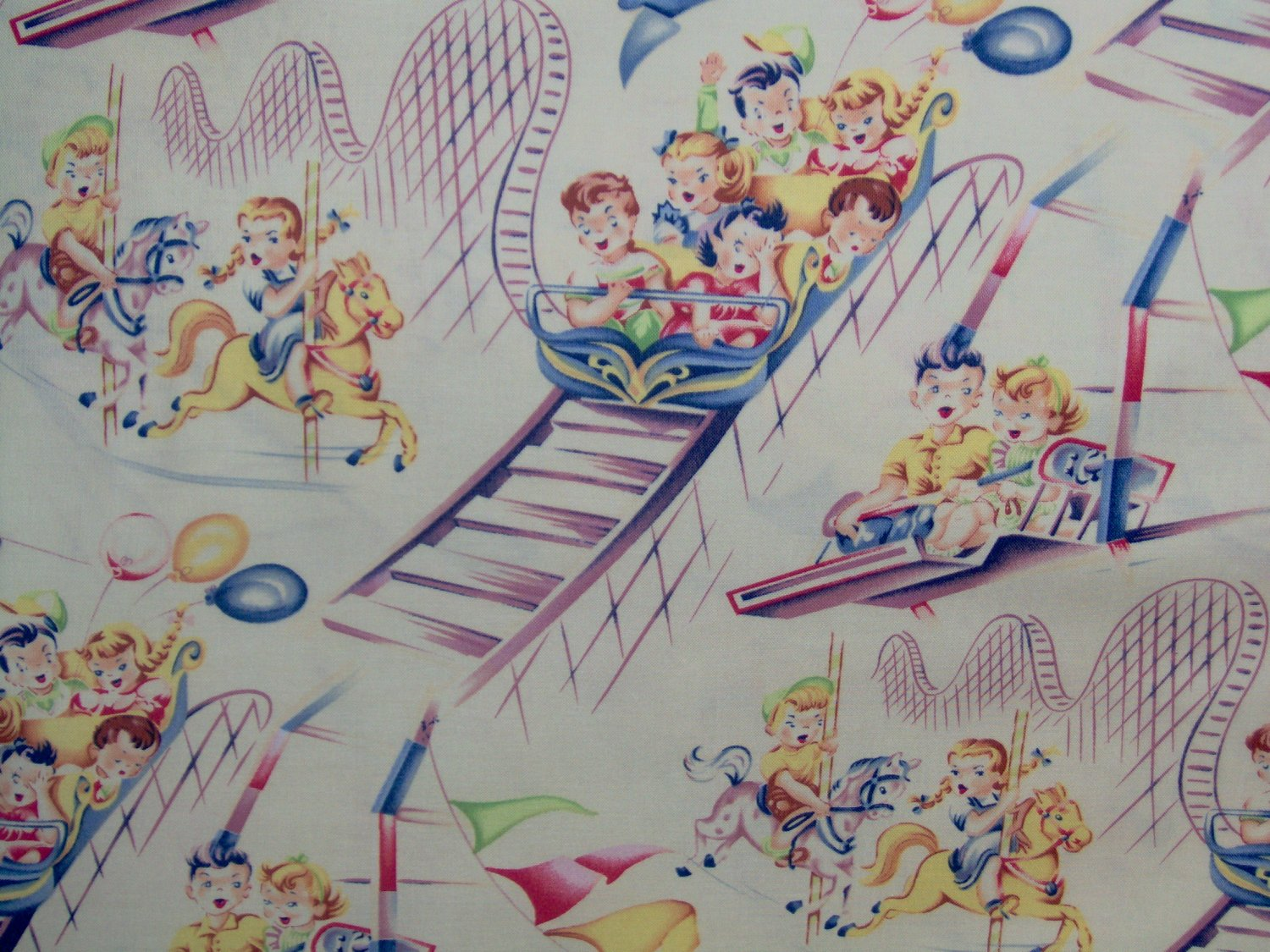 25 yard michael miller retro fun roller coaster on cream for Vintage childrens fabric by the yard
