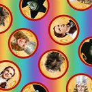 1 1/8+ Yd Wizard of Oz Over the Rainbow Character Circles 25648 P Quilting Treasures Fabric Bolt End