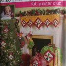Simplicity Fat Quarter Club Pattern 2723 Christmas Tree Skirt Stocking Gift Bag Mantel Scarf
