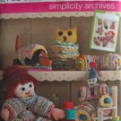 Simplicity Archives Yo Yo Toys Pattern 2708 Retro Clown Doll Caterpillar Owl Dog