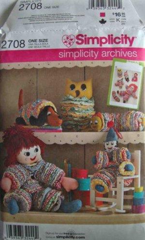 Simplicity Archives Yo Yo Toys Pattern 2708 Retro Clown Doll Caterpillar Owl Dog