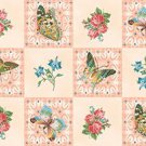 BTY Flutter Fantasy Pink Butterfly & Flower 2&quot; Blocks Quilting Treasures Fabric By the Yard