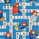 BTY Paddington Bear Paddington's ABC's Blue Crossword Puzzle 100% Cotton Kids Fabric By the Yard