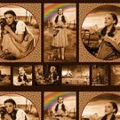 Wizard of Oz Under the Rainbow Sepia Pillow and Filmstrip Cotton Fabric Panel